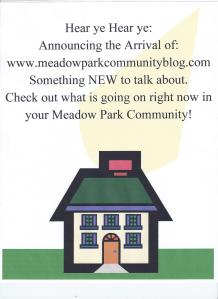 The Meadow Park Community Blog flyer which was removed from all the owner occupied mailboxes.
