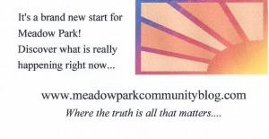 Meadow Park Community Blog business card