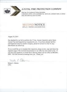 Second Notice letter from A-Total Fire Protection Company, Inc.