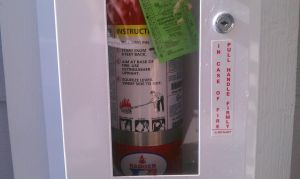 This fire extinguisher cabinet has a label, but we do not have them here on Captain Nurse Circle yet...