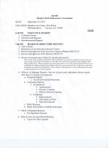 This is the agenda for the September 2015 Meadow Park board of Directors meeting...I found this in the hanging file on Bolling Drive.. it is not posted on the HOA's website..